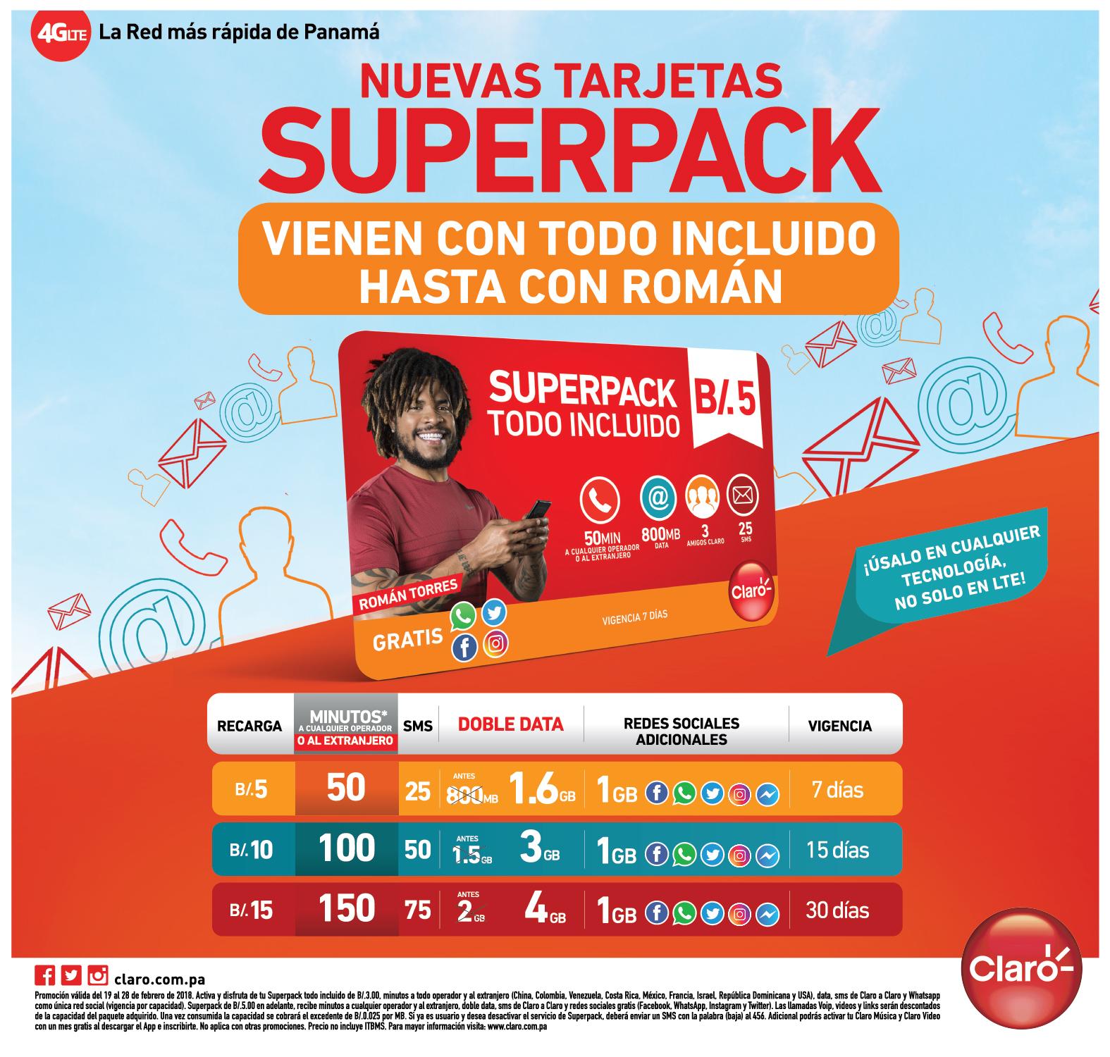 SUPER PACK EN NUEVAS TARJETAS – CLARO PANAMA