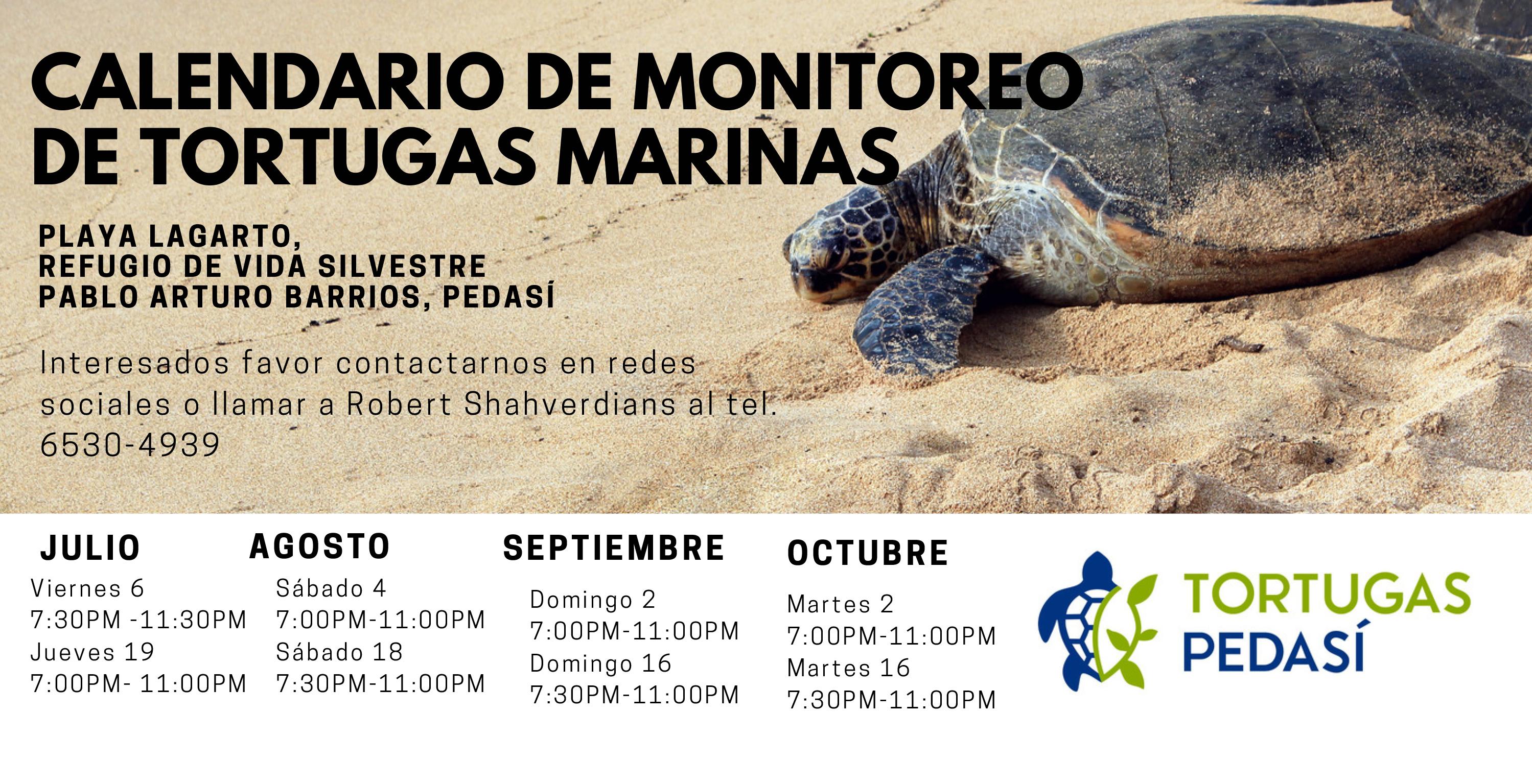 CALENDARIO DE MONITOREO DE TORTUGAS MARINAS