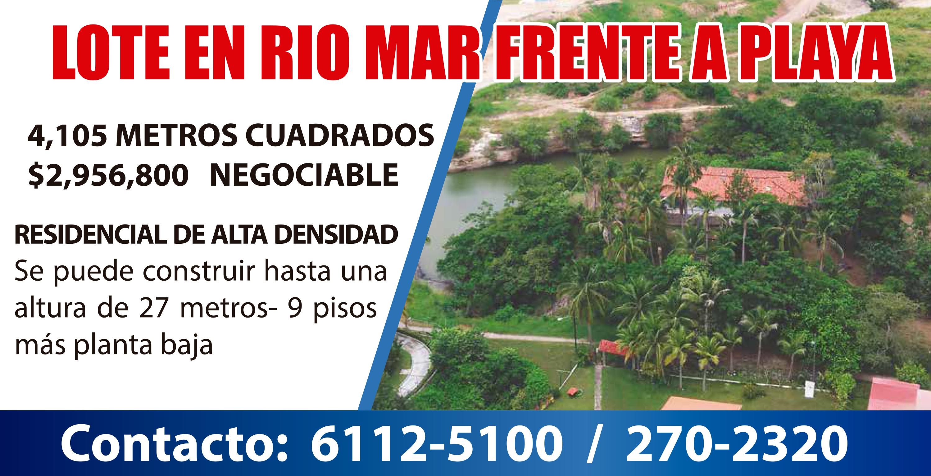 LOTE EN RIO MAR FRENTE A PLAYA