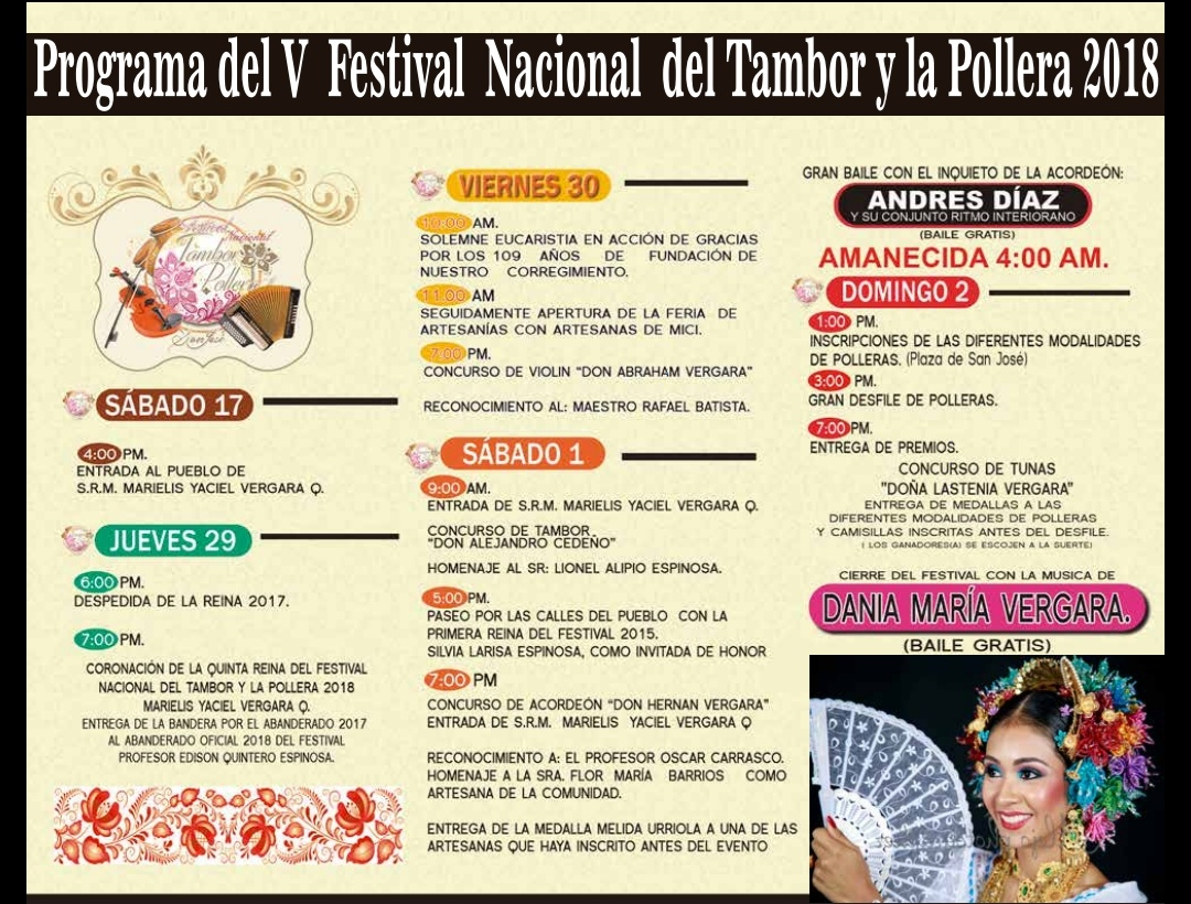 PROGRAMA DEL V FESTIVAL NACIONAL DEL TAMBOR Y LA POLLERA 2018